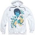 Elvis Presley pull-over hoodie Peacock adult white