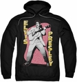 Elvis Presley pull-over hoodie Pink Rock adult black