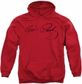 Elvis Presley pull-over hoodie Signature Sketch adult red