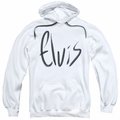 Elvis Presley pull-over hoodie Sketchy Name adult white