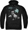 Elvis Presley pull-over hoodie Teal Portrait adult black