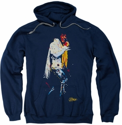 Elvis Presley pull-over hoodie Yellow Scarf adult navy