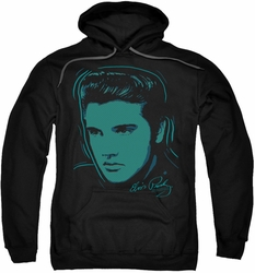 Elvis Presley pull-over hoodie Young Dots adult black