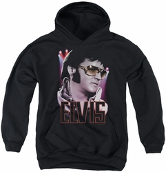 Elvis Presley youth teen hoodie 70's Star black