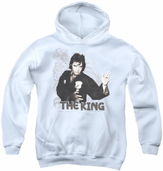 Elvis Presley youth teen hoodie Fighting King white