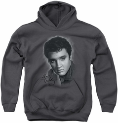 Elvis Presley youth teen hoodie Grey Portrait charcoal