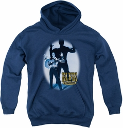 Elvis Presley youth teen hoodie Hands Up navy