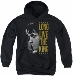 Elvis Presley youth teen hoodie Long Live The King black