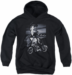 Elvis Presley youth teen hoodie Motorcycle black