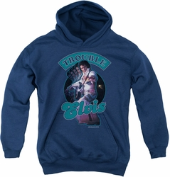 Elvis Presley youth teen hoodie Total Trouble navy
