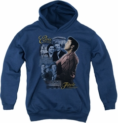 Elvis Presley youth teen hoodie Tupelo navy