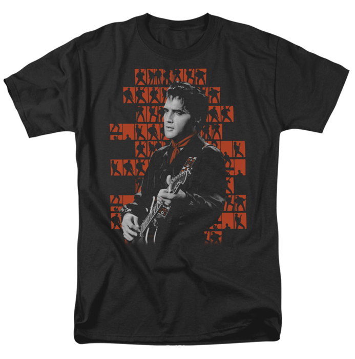 Elvis T Shirt 1968 With Silhouettes Mens Black