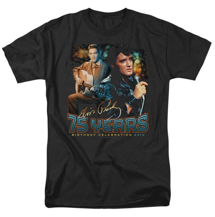 Elvis T Shirt 75 Years Mens Black