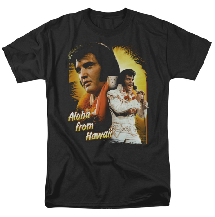 Elvis T Shirt Aloha Mens Black