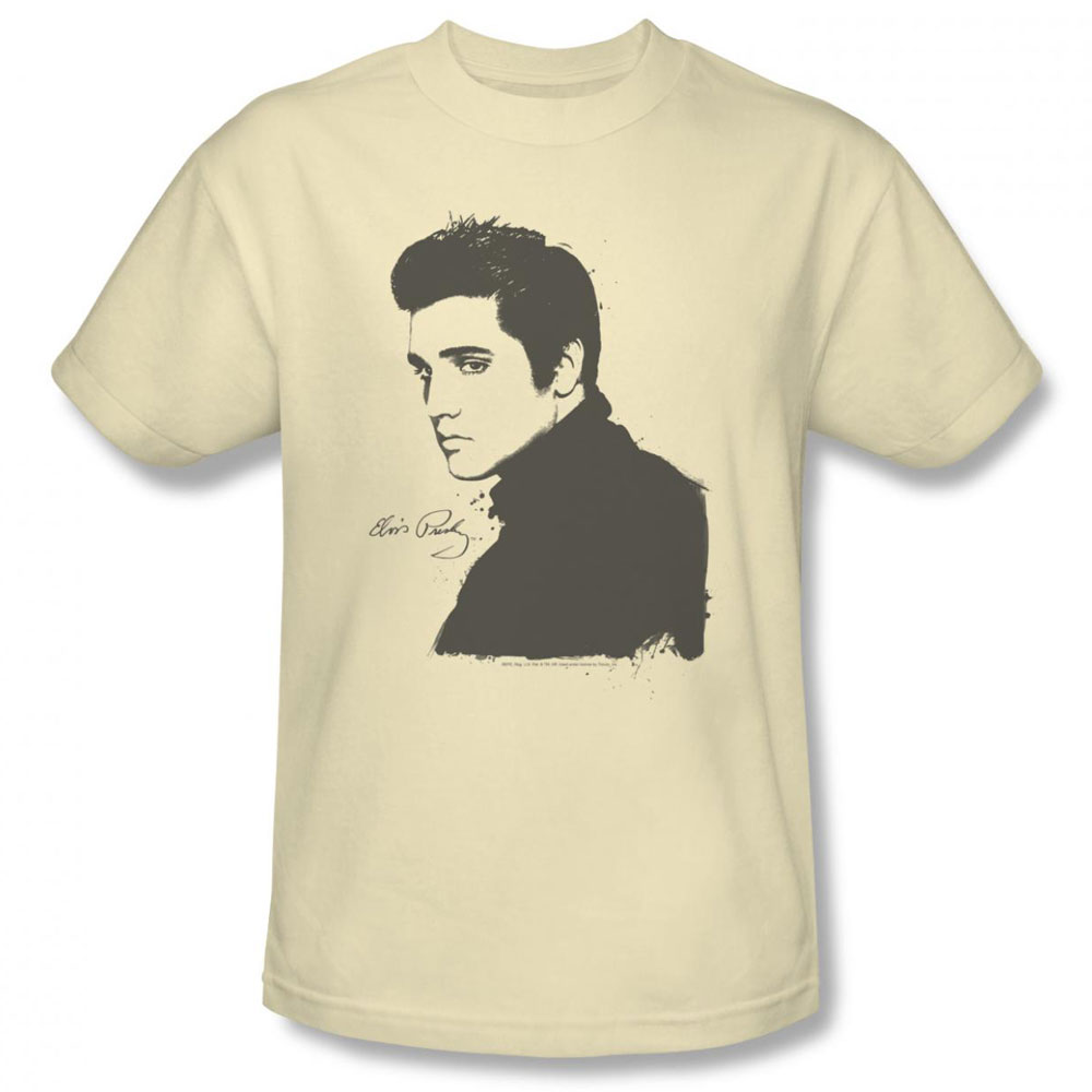 Elvis T Shirt Black Paint Mens Cream