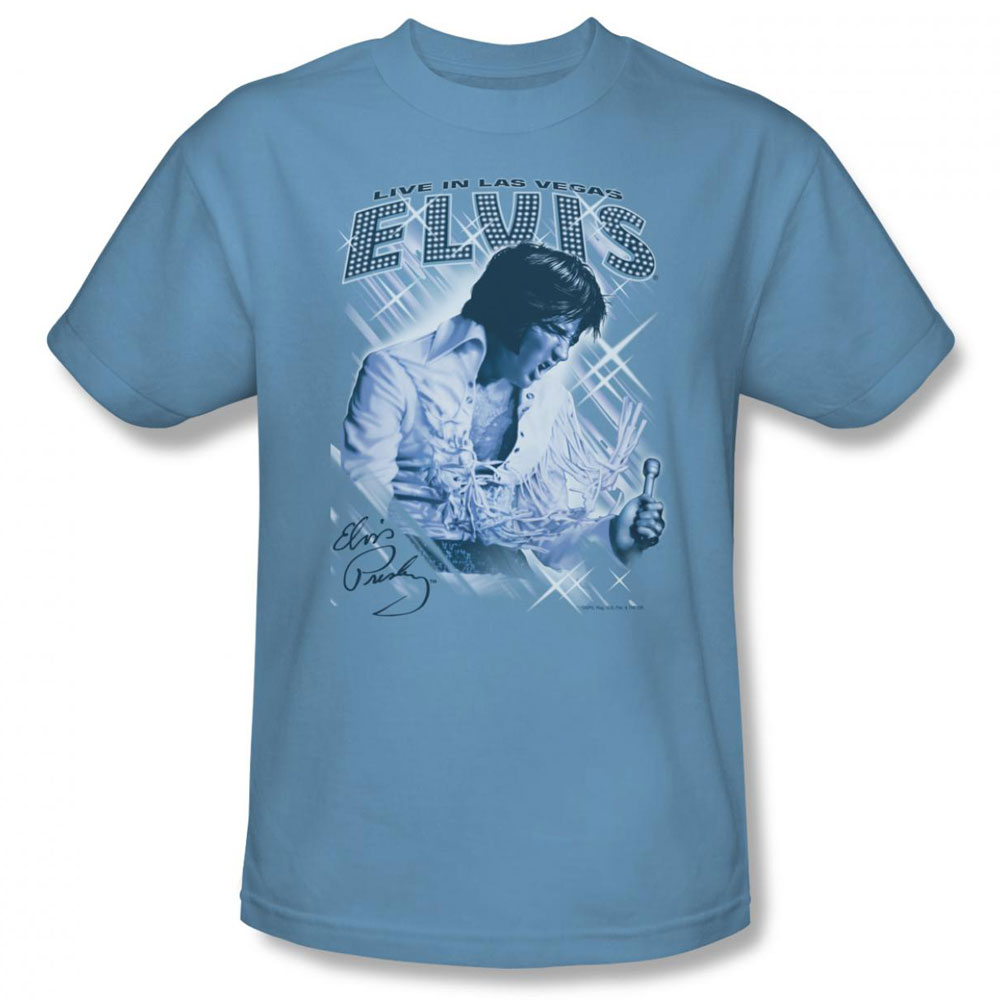 Elvis T Shirt Blue Vegas Mens Light Blue