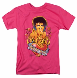 Elvis t-shirt Burning Love mens hot pink