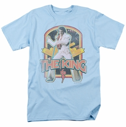Elvis t-shirt Distressed King mens light blue