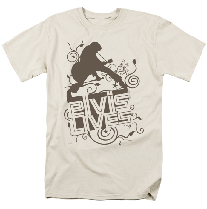 Elvis T Shirt Elvis Lives Mens Cream