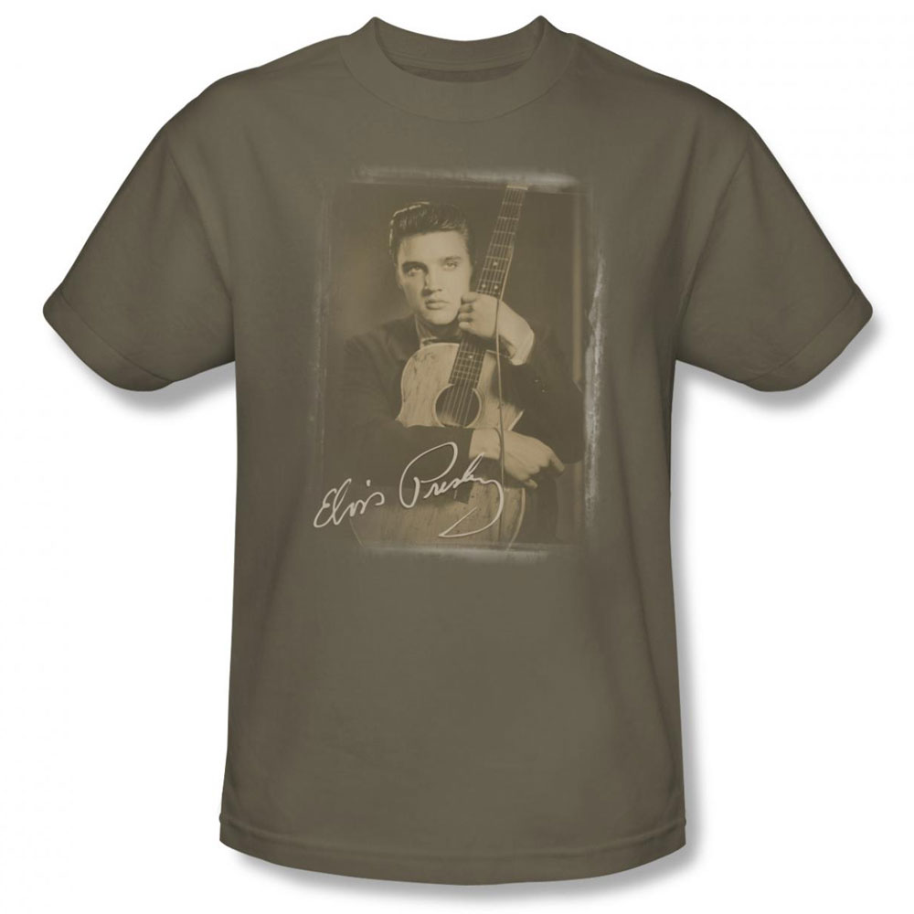 Elvis T Shirt Guitar Man Mens Safari Green