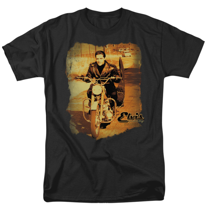 Elvis T Shirt Hit The Road Mens Black