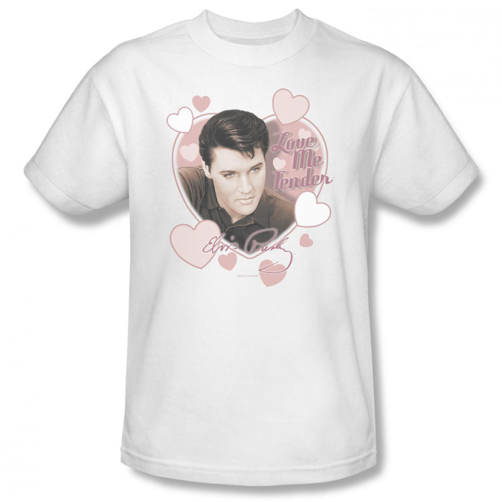 Elvis T Shirt Love Me Tender Mens White