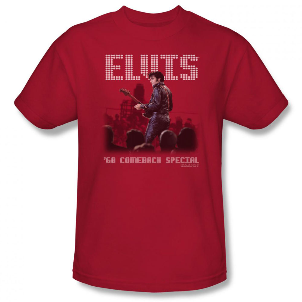 Elvis T Shirt Return Of The King Mens Red