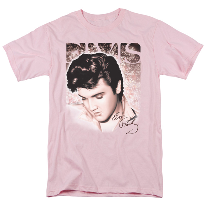 Elvis T Shirt Star Light Mens Pink
