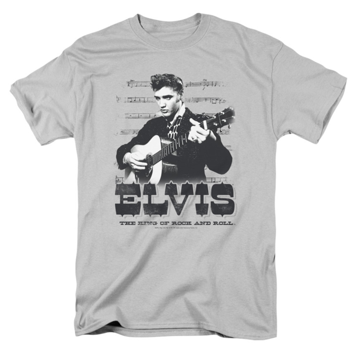 Elvis T Shirt The King Of Mens Silver