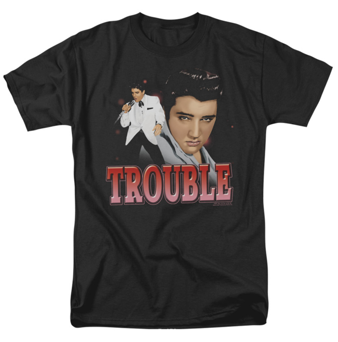 Elvis T Shirt Trouble Mens Black