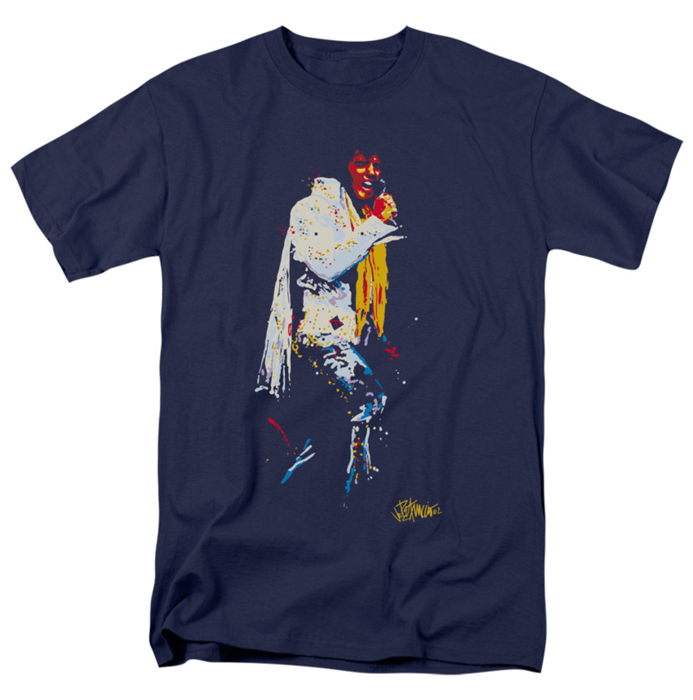 Elvis T Shirt Yellow Scarf Mens Navy