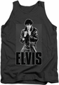 Elvis tank top Leather mens charcoal