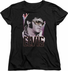 Elvis womens t-shirt 70s Star black