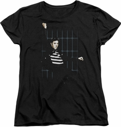 Elvis womens t-shirt Blue Bars black