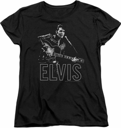 Elvis womens t-shirt Guitar In Hand black