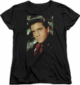 Elvis womens t-shirt Red Scarf black