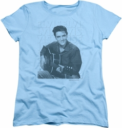 Elvis womens t-shirt Repeat light blue