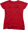 Elvis womens t-shirt Signature Sketch red