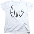Elvis womens t-shirt Sketchy Name white