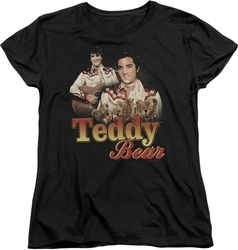 Elvis womens t-shirt Teddy Bear black
