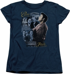Elvis womens t-shirt Tupelo navy