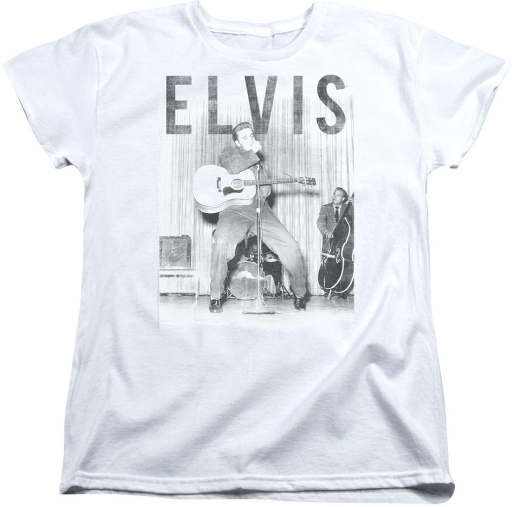 Elvis womens t shirt with the band white for Elvis t shirts wholesale