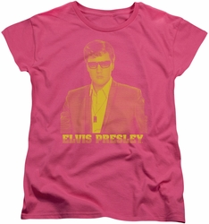 Elvis womens t-shirt Yellow Elvis hot pink