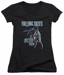 Falling Skies juniors sheer v-neck t-shirt Battle Or Become black