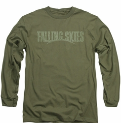 Falling Skies long-sleeved shirt Distressed Logo military green