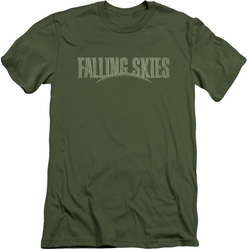 Falling Skies slim-fit t-shirt Distressed Logo mens military green