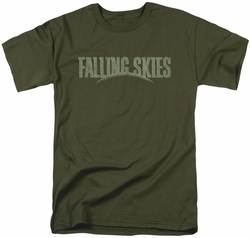 Falling Skies t-shirt Distressed Logo mens military green