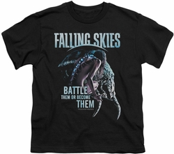 Falling Skies youth teen t-shirt Battle Or Become black