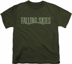 Falling Skies youth teen t-shirt Distressed Logo military green
