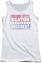 Family Ties juniors tank top Alex For President white